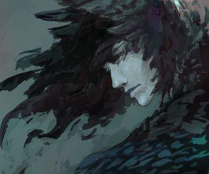 art, raven, and man image