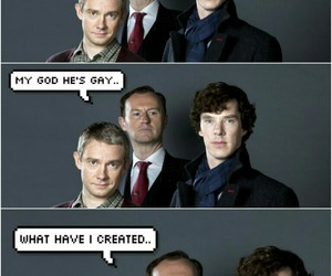 sherlock, mark gatiss, and johnlock image