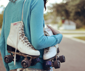 alone, roller skates, and girl image