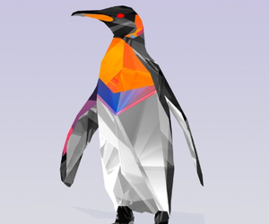 penguin, wallpaper, and facets image