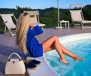 fashion, pool, and summer image