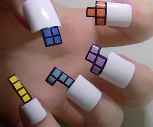 nails, tetris, and nail art image