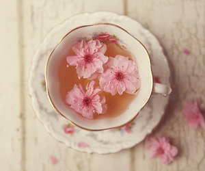 flowers, tea, and pink image