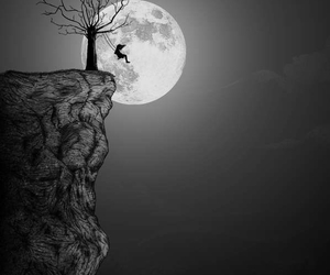 moon, tree, and black image