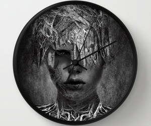 artwork, black and white, and mixed media image