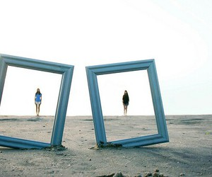 beach, blue, and frame image