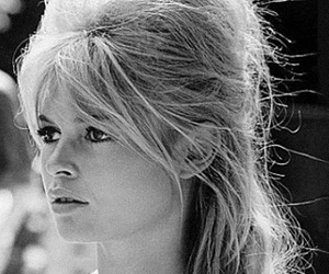 brigitte bardot, black and white, and hair image