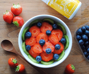 fruit, healthy, and strawberries image