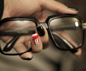 nails, glasses, and black image