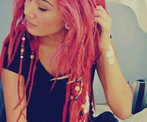 hair, pink, and dreads image