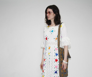 dress, rainbow, and floral image