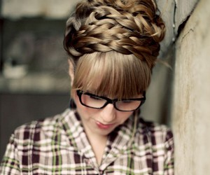 blonde, braid, and glasses image