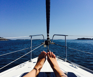 boat, chilling, and feet image