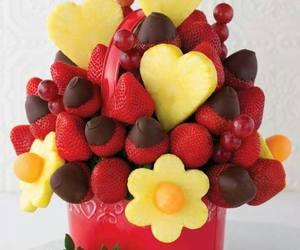fruit, strawberry, and chocolate image