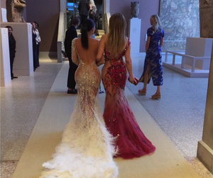 fashion, gowns, and feathers image