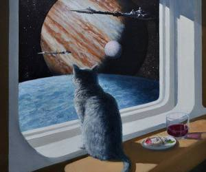 cat, space, and art image