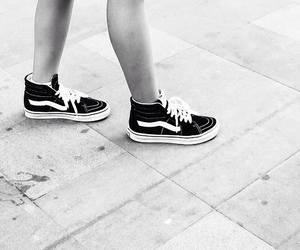 black and white and vans image