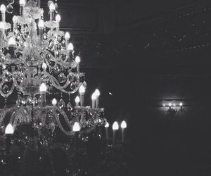 black and white, chandelier, and charming image