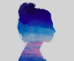 girl, head, and landscape image