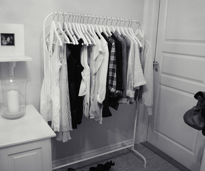 black and white, clothes rack, and girl image