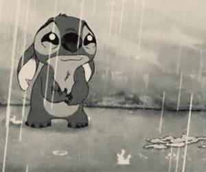 stitch, sad, and rain image