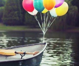 balloons, boat, and lake image