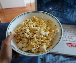 popcorn, food, and laptop image