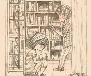 black and white, book, and chibi image