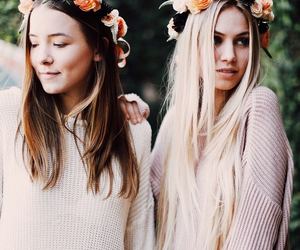 fashion, girl, and flower crowns image
