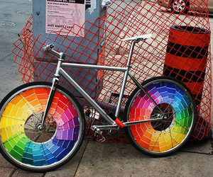 rainbow, bike, and bicycle image