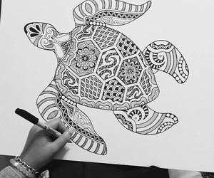art, mandala, and turtle image
