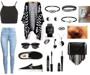 black, cardigan, and shoes image
