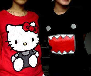 hello kitty, domo, and black image