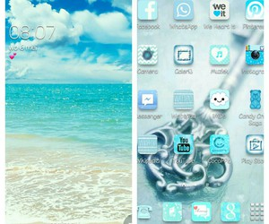 beach, blue, and home screen image