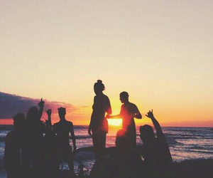 beach, sunset, and friends image