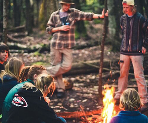 boys and girls, fire, and wood image