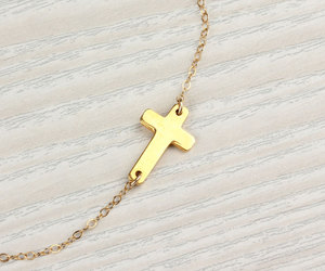 faith necklace, sideways cross necklace, and bridesmaid necklace image