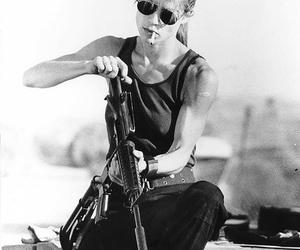 gun, woman, and terminator image