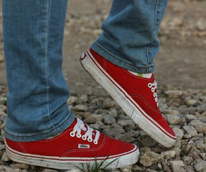 foot, vans, and red image
