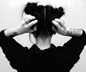 hair, tattoo, and grunge image