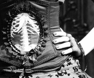 black and white, corset, and goth image