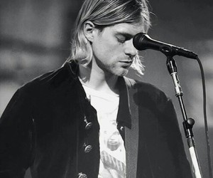 black and white, grunge, and kurt cobain image