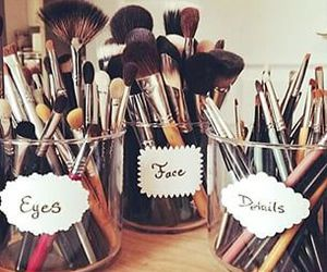 makeup, Brushes, and eyes image