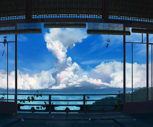 sky, anime, and sea image