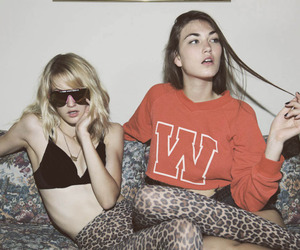 girl, friends, and leopard image