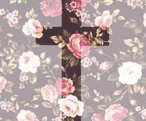 flowers, cross, and rose image