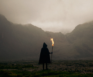 fire, mountains, and photography image