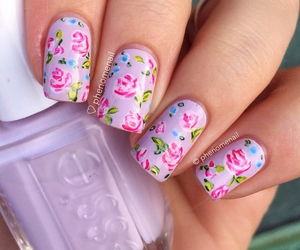 flowers, nails, and nail art image