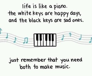 life, piano, and quote image