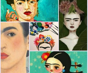 Collage, flower, and Frida image